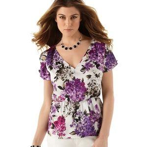 {White House Black Market} Floral Peplum Top 🌼